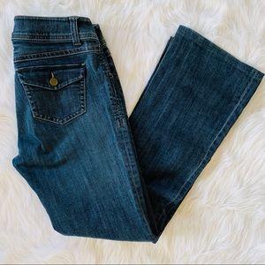 CAbi Flare Leg Dark Wash High Rise Jeans